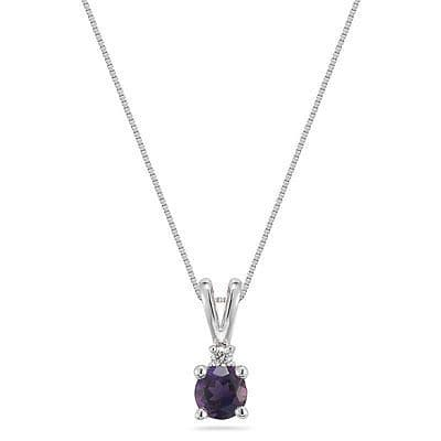 Amethyst 0.7ct & Diamond 0.03ct 18ct White Gold Pendant Necklace