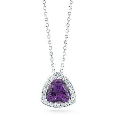 Amethyst 4.25ct & Diamond 0.25ct 18ct White Gold Pendant Necklace