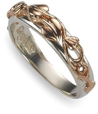 CLOGAU GOLD Tree of Life Ring Silver & 9ct Gold - SILR