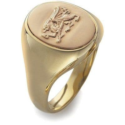 CLOGAU GOLD Welsh Dragon Signet Ring 9ct Gold - OSRD