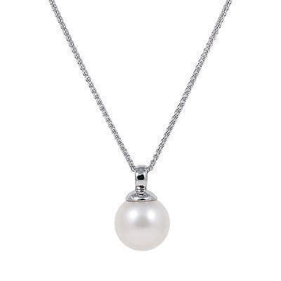 Freshwater White Pearl (10-10.5mm) 18ct White Gold Pendant