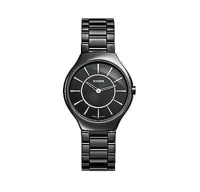 RADO R27742162 True Thinline Black Ceramic Ladies Watch