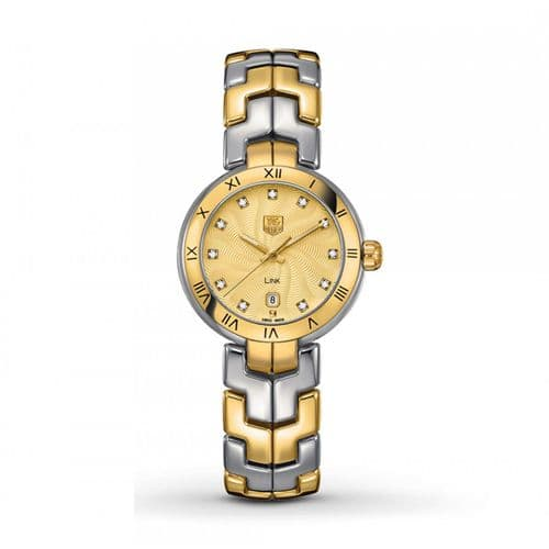 TAG HEUER Link Lady 18ct Gold & Diamond Dial Ladies Watch WAT1451.BB0955