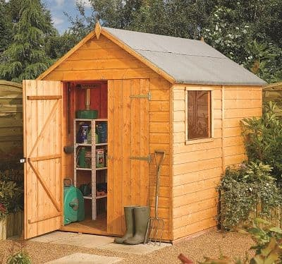This Rowlinson 8X6 apex garden shed is built using 12mm tongue & groove shiplap. This garden shed is ideal for storing  your garden furniture and tools.