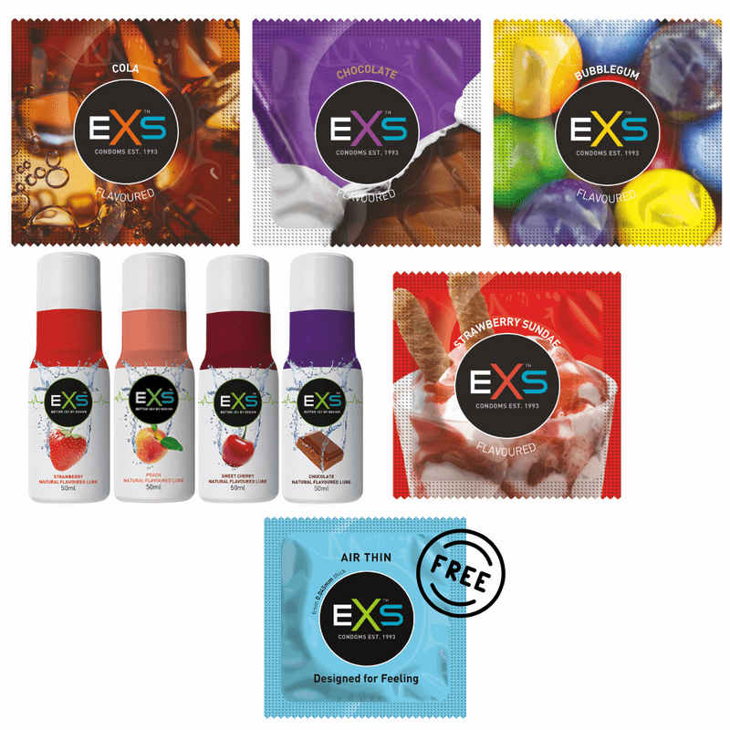 EXS Multipack - Mixed Flavoured Condoms+Lube+ 6 FREE Air Thin Condoms
