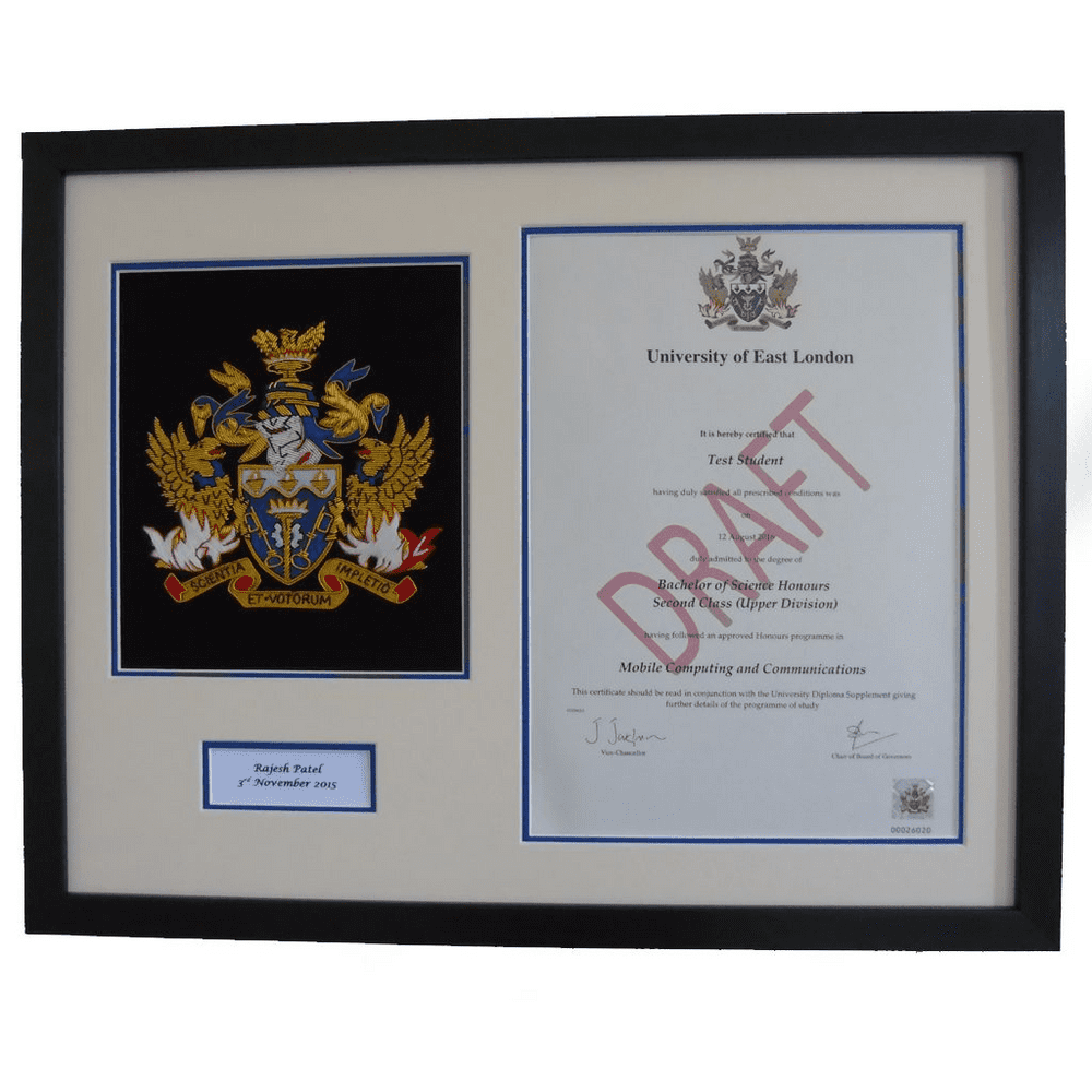 UEL Hand-Embroidered Degree Certificate Plaque