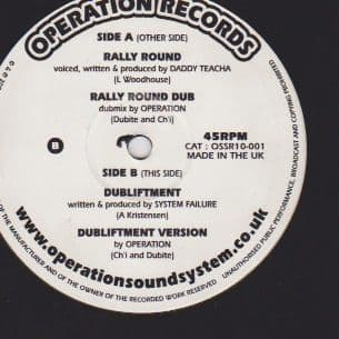 "Daddy Teacha - Rally Round / Rally Round Dub / System Failure - Dubliftment / Version 10"" Operation Records"