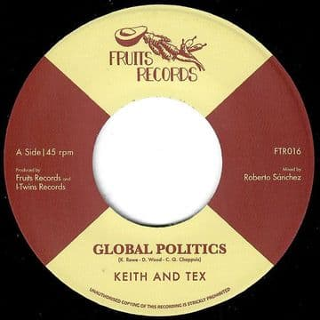"""Keith & Tex – Global Politics / The I-Twins - I Take The Risk 7"""" Fruits Records"""