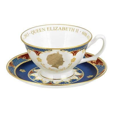 Royal Worcester Coronation Anniversary teacup and saucer