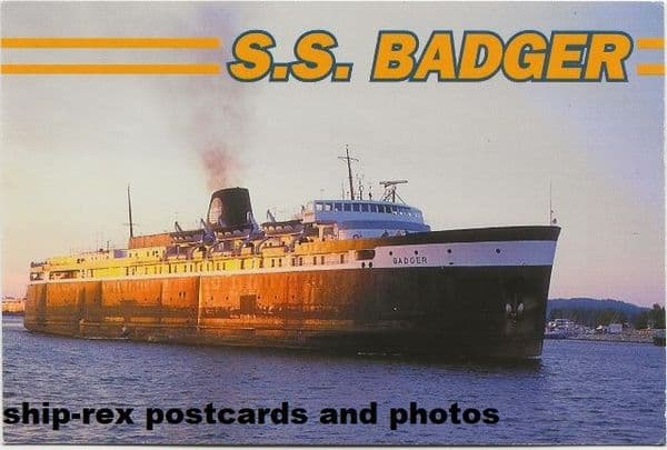 BADGER (Lake Michigan Carferry Service) postcard (c)
