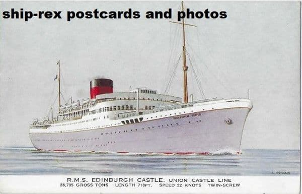 EDINBURGH CASTLE (1948, Union Castle Line) postcard (a)