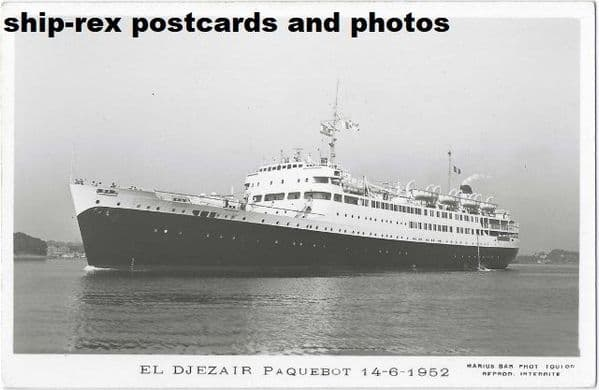 EL DJEZAIR (1952, Cie de. Navigation Mixte) plain back card