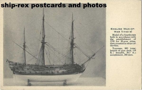 English Man Of War 1740-5 (model) postcard