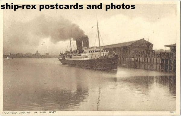 Holyhead (Anglesey) arrival of the mail boat, postcard