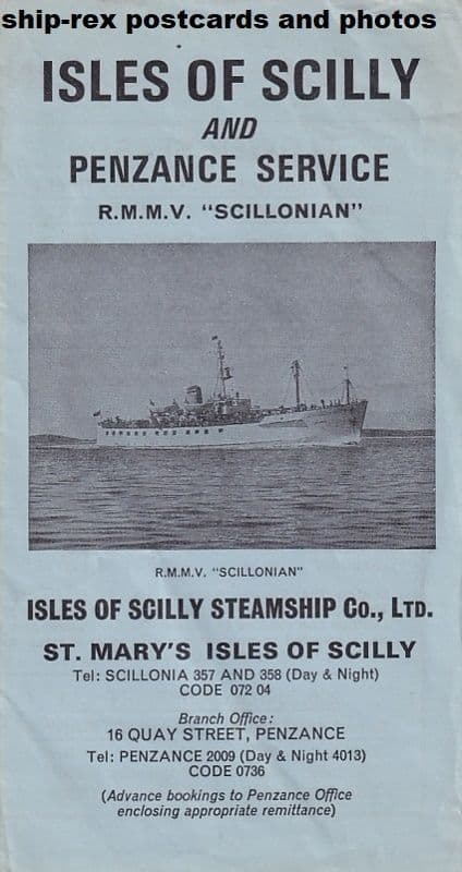 Scillonian (1956), 1974 sailing schedule