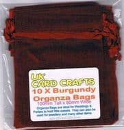 10 x Burgundy Organza Bags - 10cm x 8cm - Weddings, Parties