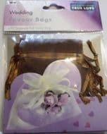 10 x Chocolate Wedding Favour Organza Bags. 100mm x 75mm.