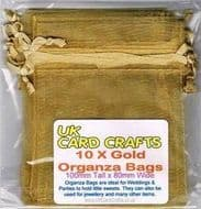10 x Gold Organza Bags - 10cm x 8cm - Weddings, Parties
