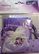 10 x Lilac Wedding Favour Organza Bags. 100mm x 75mm.