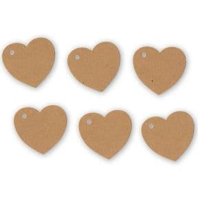 100 Heart Tags In Kraft – Valentines – Wedding – Wish Tree Tags. No Ribbon Or String.