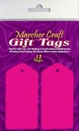 12 x Hot Pink Large Gift Tags / Wedding Place Card Tags / Tag Toppers