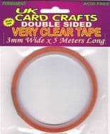 5 X 3mm Wide x 5 Meters Clear Double Sided Tape - UKCC0031