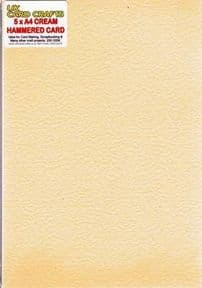 A4 Cream Hammered Embossed 250gsm Card x 5 Sheets - UKCC0278