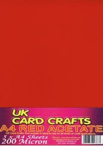 A4 Red Acetate 200 Micron x 5 Sheets - UKCC0228
