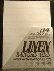 A4 White Embossed Linen Card x 5 Sheets, 250gsm - UKCC0299