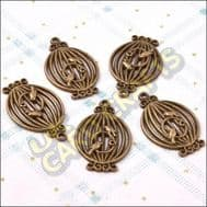 Birdcages 1 Metal Charms & Spacers - HHCS01