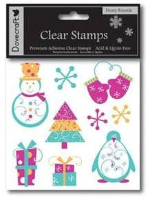 Frosty Friends Clear Rubber Cling Stamps