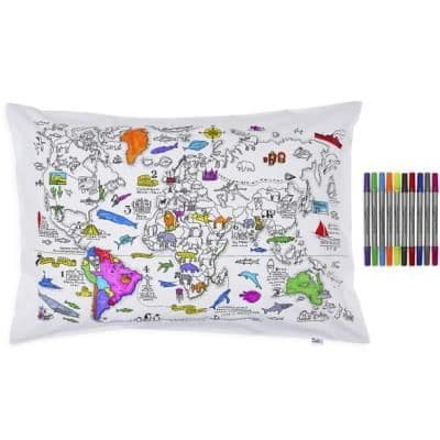 Colour & Learn: World Map Pillowcase