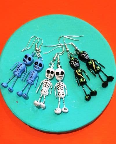 Earrings clay mexican skeleton