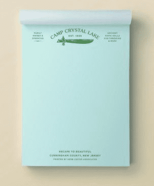 Fictional hotel notepads: Camp Crystal Lake