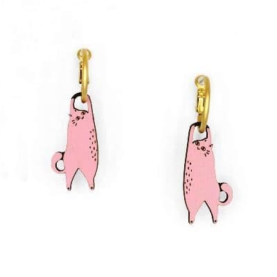 Hanging Cat Pink Earrings - Pink