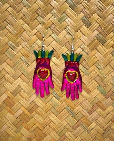 Heart hand earrings