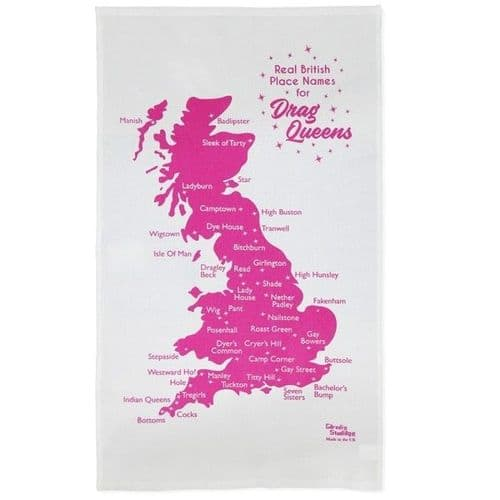 Real British Place Names for Drag Queens Tea Towel by Garudio Studiage