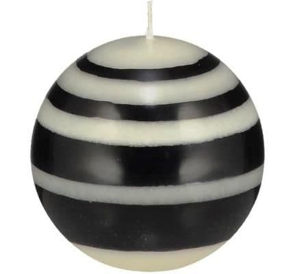 Striped ball Eco Candle in Jet and Pearl (Small or Large)