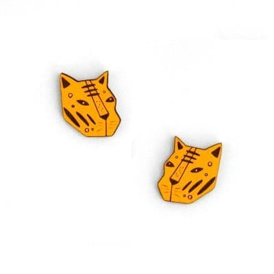 Tiger Face Stud Earrings